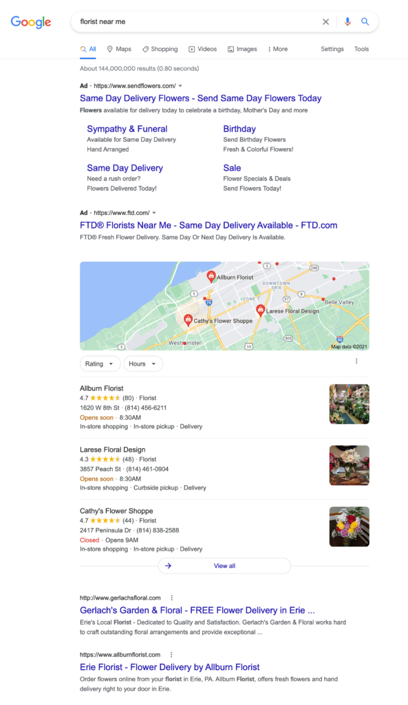 local search results analysis